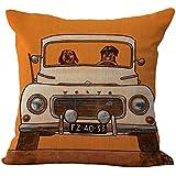 """Vintage de perro Conducir coche lino y algodón cuadrado manta decorativa Funda de almohada cojín 18""""x18"""" (45x 45cm)"""