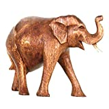 Simandra Elefant Holz Figur Skulptur Abstrakt Holzfigur Statue Afrika Asia Glücksbringer Handarbeit Deko Größe 14 cm