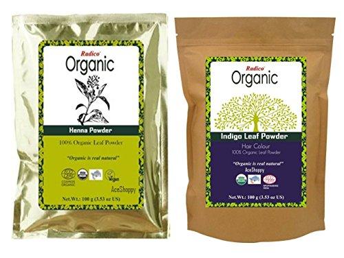Radico Organic Indigo Leaf Powder & Organic Henna Combo  available at amazon for Rs.270