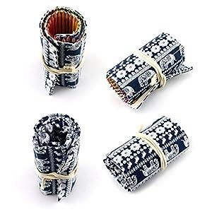 Generic M, étnico: 36/48/72agujeros Vintage colorido peces lienzo insertado en estuche Funda para bolígrafos escuela suministros bolsa de cosméticos Art soporte para bolígrafos