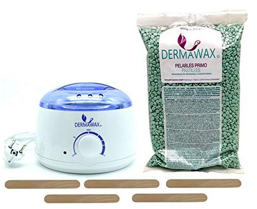Waxing Set-Wachsgerät Wachserwaermer- 1 kg Aloe Vera Heisswachs Heisswachsperlen Wachsperlen ohne Vliesstreifen für Enthaarung Haarentfernung Brazilian Waxing ganz Körper