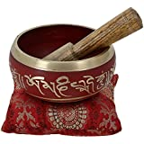 Tibetan Singing Bowl Meditation Red, Blue, Green And Silver Art Buddhist Décor 4 Inch (Red)