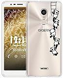 Sunrive Für Alcatel 3C Hülle Silikon, Transparent Handyhülle Schutzhülle Etui Case für Alcatel 3C(TPU Panda 1)+Gratis Universal Eingabestift