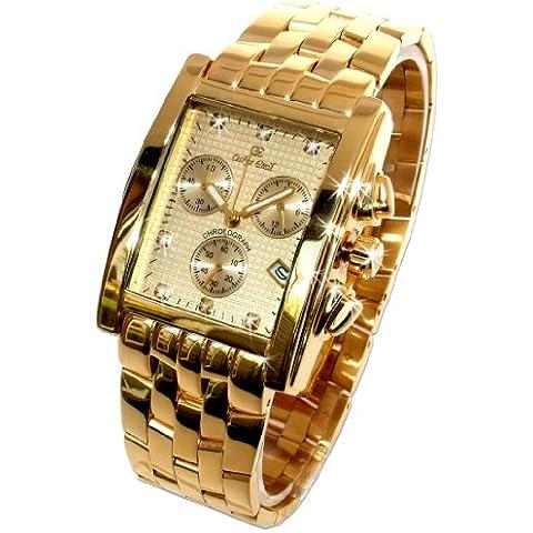 Oskar Emil Rodez - Reloj de Lujo Cronógrafo para Hombre, Oro Con 7 Diamantes