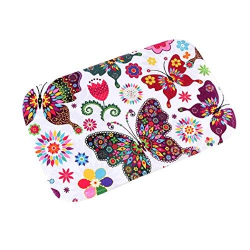 Mariposa colorida Puerta Alfombras Baño de espuma de memoria absorbente alfombrilla antideslizante