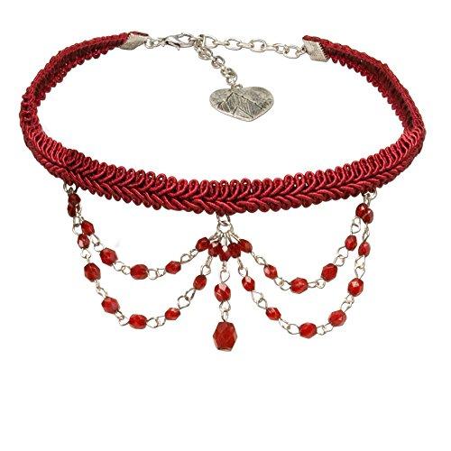 Alpenflüstern Trachten Borten-Kropfband Ida mit Perlen-Ketten Trachtenkette enganliegend, Elegante Kropfkette, Damen-Trachtenschmuck rot DHK188
