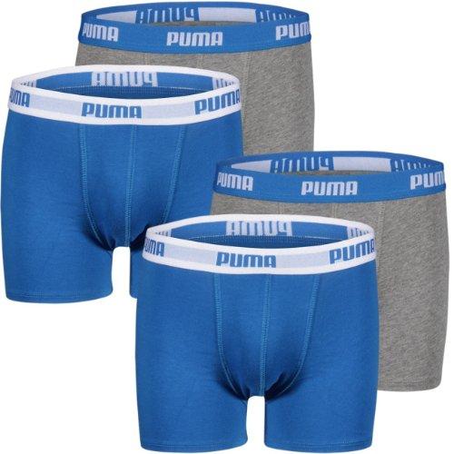 Puma Junior Boys Boxershort Basic Boxer NOS, Größe 152 (L) - 4er Pack, Farbe blue/grey (417)