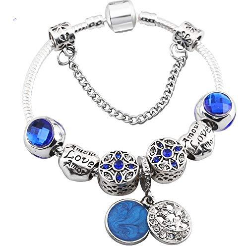 3f1898cd5af7 GSYDSZ Moon   Star Blue Crystal   Glass Charm Bracelet para Mujeres Fit  Original Brand Pulsera