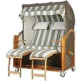 Teca playa cesta 2,5plazas gris verde rayas 140cm ancho ratán color marrón oscuro incluye equipo completo