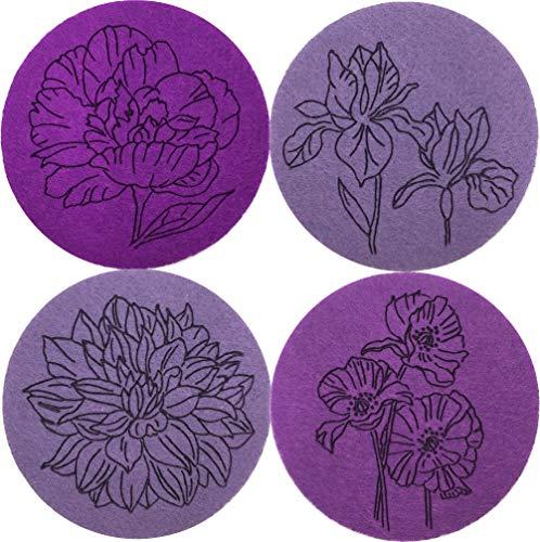 larolo 4er Set Glasuntersetzer -Sommer-, handgemalte Florale Motive auf Filz graviert, Ø 10cm rund, zweifarbiges Set Floral Becher