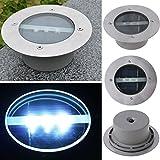 Solarbetriebene Garten-Untergrund-Leuchte für den Außenbereich, Edelstahl, 3 LED-Lampen
