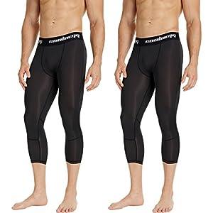 COOLOMG Herren Jugend Leggings Compression Tights Fitness Trainingshose 3/4 (2 Stück) 3XS-XXL
