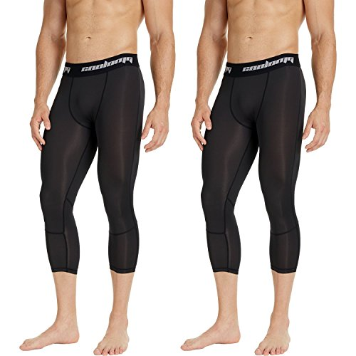 COOLOMG Herren Jugend Leggings Compression Tights Fitness Trainingshose 3/4 (2 Stück) Schwarz XL
