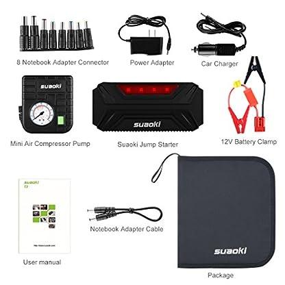 51CleEf9mtL. SS416  - Suaoki T3 Plus - Jump Starter de 18000mAh, 600A Coche Arrancador con Mini Compresor de Aire (USB puertos 12V/16V/19V, linterna LED, batería externa para móvil, tablet)
