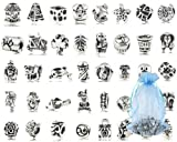 Bundle Monster Perlarmband-Anhänger, aus oxidiertem Metall, versilbert, Antik-Optik, 40 Stück