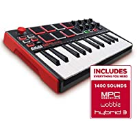 AKAI Professional MPK Mini MKII | 25-Key Portable USB MIDI Keyboard with 8 Backlit Performance-Ready Pads, 8-Assignable Q-Link Knobs, a 4-Way Thumbstick, and a Pro Production Software Included