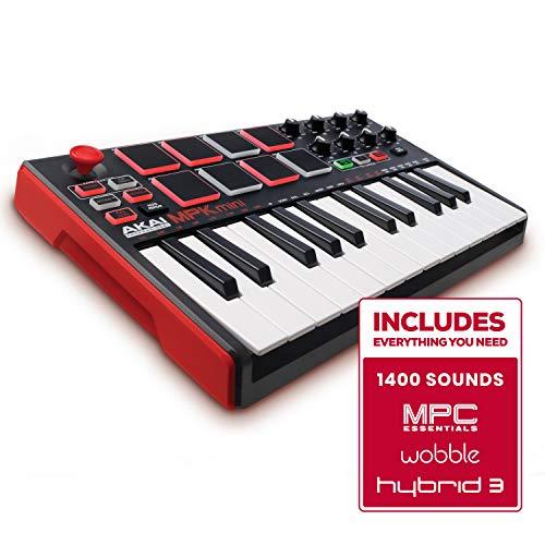 AKAI Professional MPK Mini MKII - Tastiera Controller MIDI USB con 25 Tasti, 8 PAD, Potenziometri e Joystick + VIP 3 e Pacchetto di Software Inclusi