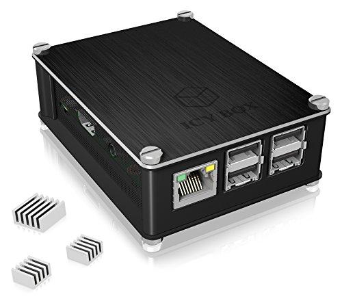 ICY BOX Aluminium Gehäuse für Raspberry Pi 3 Model B+, Raspberry Pi 3 Model B und Raspberry Pi 2 Model B, 3 Kühlkörper, Seitengitter, Schwarz