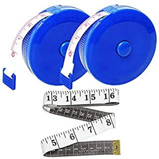 nuosen 2 pcs 60-Inch 1.5 Meter Retractable Measuring Tape, 1 pcs Soft Tape Measure Dieting Measuring Tape for Cloth Body Measuring Sewing Tailor