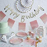 Ginger Ray Gold Foiled Pink Ombre Happy Birthday Party Paper Plates X 8 - Pick And Mix