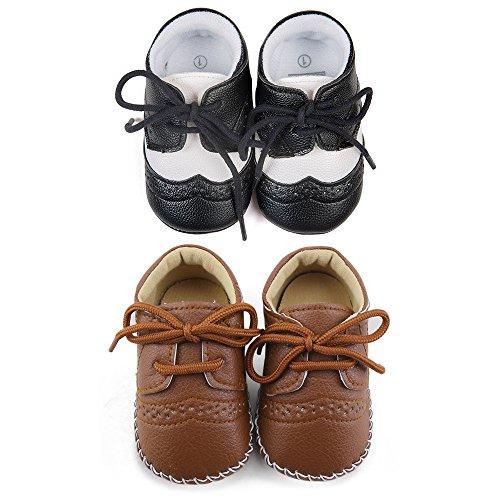 DELEBAO Babyschuhe Baby Turnschuhe Neugeborenen Junge Schuhe Krabbelschuhe Aus Leder Weiche Sneaker für Kleinkinder (Schwarz,Braun(2 Paar),6-12 Monate) (Weiches Leder Sneaker)