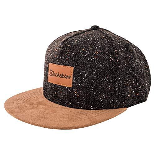 Blackskies Obsidian Snapback Cap Schwarz Braun Wildleder Unisex Baseball Mütze Wolle