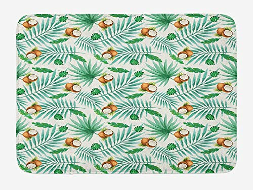 CHKWYN Watercolor Bath Mat, Coconut Fruit Exotic Nature Palm Tree Leaves Aloha Hawaii Polynesian Food, Plush Bathroom Decor Mat with Non Slip Backing, 23.6 W X 15.7 W Inches, Green Pale Brown