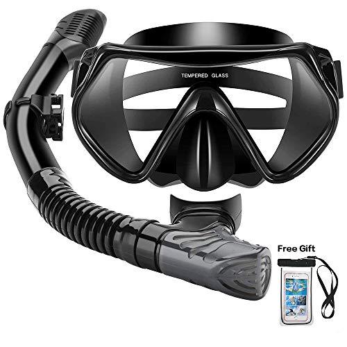 Arkmiido Masque et Tuba,Set de plongée Complet Sec Ruban de Silicone réglable, sous Marine pour Adulte, Premium Kits de Randonnée Aquatique,Anti-Brouillard et Anti-Fuite
