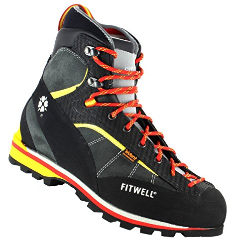 Fitwell Bergschuhe / Wanderschuhe Big Wall Rock EV wasserdicht und steigeisenfest MADE IN ITALY (UK 8,5 - EU 42,5, Antracite) (Rock Eve)