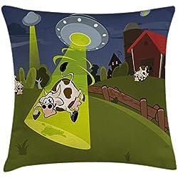 Funda Cojin, Farm Warehouse Grass Fences Cow Alien Abduction Funny Comics Image Artwork Print, Decorative Square Accent Pillow Case, 18 X18 Inches