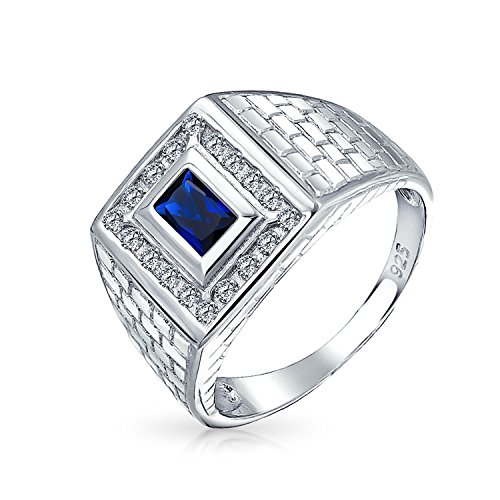 JOYERIA BLING ZAFIRO SIMULADA DE LADRILLOS RECTANGULO MENS ENGAGEMENT RING STERLING SILVER