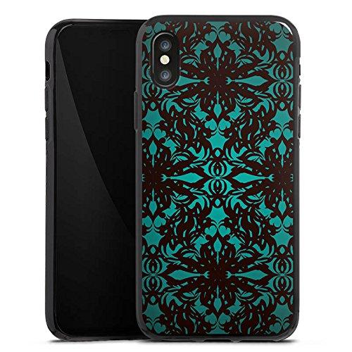 Apple iPhone X Silikon Hülle Case Schutzhülle Muster Gothic blumenmuster Silikon Case schwarz