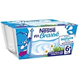 Nestlé Bébé P'tit Brassé Nature sucré - Laitage dès 6 Mois - 4 x 100g - Lot de 6