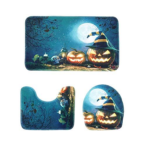 Kostüm Sunny Day - Mitlfuny Festival dekor,Christmas,Halloween,Weihnachtsdekoration,Halloween deko,Halloween kostüm,Halloween-Kürbis-Reihen-Toiletten-Boden-Matten-vorzüglicher Druck-dreiteilige Toiletten-Matte