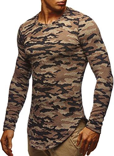 LEIF NELSON Herren Sweatshirt Hoodie Hoody Camouflage Army LN6364; Größe M, Camouflage Beige-Toene