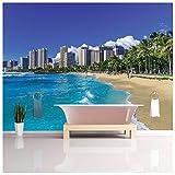 azutura Honolulu Beach Papier Peint Photo City Skyline Papier Peint Hawaii Ocean Décoration de Maison Disponible en 8 Tailles Gigantesque Numérique