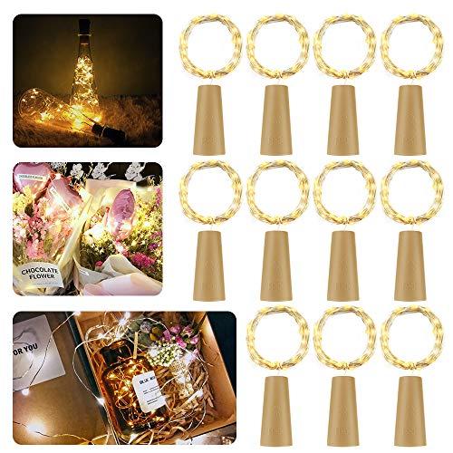 LED Flaschen-Licht,【11 Stück】20 LEDs 2M Kupferdraht Lichterkette Weinflasche Lichter mit Kork korken ,Pomisty Nacht Licht LED Lichterketten Stimmungslichter Flasche DIY Dekor für Party Weihnachten, Halloween, Hochzeit oder Stimmung ()