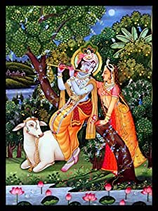 Beautiful Handmade Painting Of Radha Krishna Romance Outdoor For Your Wall To Bring Love And Romance In Your Life Decorate This Painting In Your Bedroomdecorate Your Home And Office Walls With These