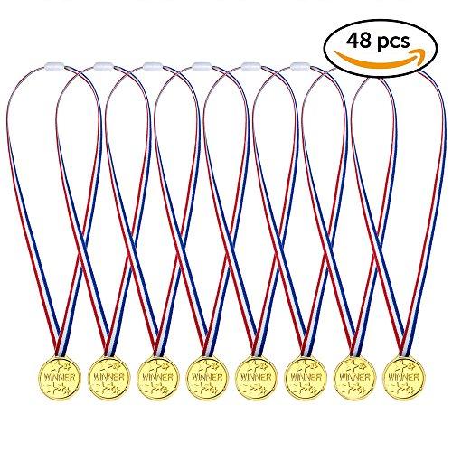 48x Kindergeburtstag Gold Medaillen für Kinder – ideale Goldmedaille für Fußball, Sport, Laufen, Handball, Kegeln, Schwimmen & als Partyartikel, Geburtstags-Mitbringsel & Party-Scherzartikel