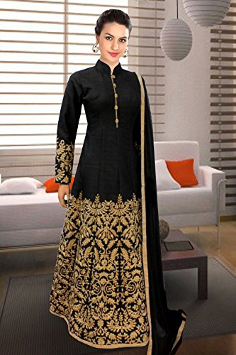Linux Fashion Studio Black Banglory Silk Anarkali Partywear Dress With Dupatta
