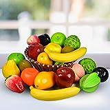 Reiki Crystal Products Mix Artificial Fruits Banana, Mango, Orange, Apple, Pear, Peach, Kiwi, Custard Apple, Carambola, Strawberry Home Decoration Items Pack of 12 pc (Color : Multi)