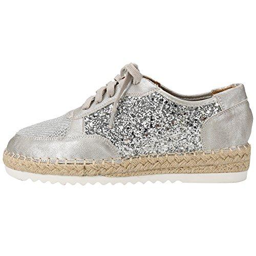 Alexis Leroy Chaussures Semelle tissée espadrilles plateforme à lacets femme Argent