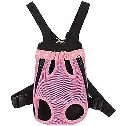 YOUJIA Mochila Bolsa para Perro Gato Mascota, Viaje Bolsa de Transporte - Color sólido (Botón# Pink, M)