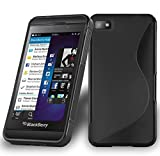 Cadorabo Hülle für Blackberry Z10 - Hülle in Oxid Schwarz – Handyhülle aus flexiblem TPU Silikon im S-Line Design - Ultra Slim Soft Backcover Case Bumper