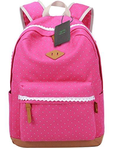 Leichte Schulrucksack mit Polka Dots Nette Canvas Schultaschen Damen Mädchen EXTRA Groß Kinderrucksack Daypacks Rucksäcke Modische mit Laptop Fach 33 * 45 * 17 cm - Little Princess (Rosa)