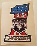 Dodge Charger #1 USA Flag Aufkleber KONTURGESCHNITTEN WASCHSTRASSENFEST LAMINIERT UV BESTÄNDIG! 9,5 x 7,5 cm! Sticker AUTOCOLLANT!