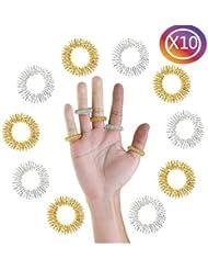 tankerstreet 10pcs acupresión masaje anillos plata dedo anillo de energía, varios colores–oro