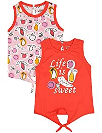 Life by Shoppers Stop Girls Round Neck Printed Top - Pack of 2