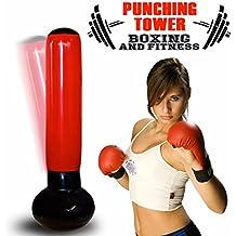 Bakaji Sacco Boxing Punching Torre Gonfiabile Jumbo Tower per Aereo Box Kick Boxe Boxing Allenamento Casa Anti Stress Altezza 160cm - Portare A Casa Attrezzature Del Bambino