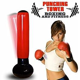 BAKAJI Sacco Boxing Punching Torre Gonfiabile Jumbo Tower per Aereo Box Kick Boxe Boxing Allenamento Casa Anti Stress Altezza 160cm